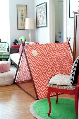 Kai and Tulla's tent is pitched in the living room.