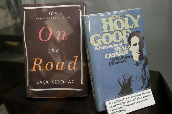 "A display at the Beat Museum shows Jack Kerouac's famous book (left) and a biography of Neal Cassady Monday December 1, 2014. A lost letter written from BEAT hero Neal Cassady to author Jack Kerouac was displayed at the Beat Museum in San Francisco, Calif. before being auctioned soon. The letter is purportedly what caused Kerouac to start over with ""On the Road,"" his famous novel of the Beats."
