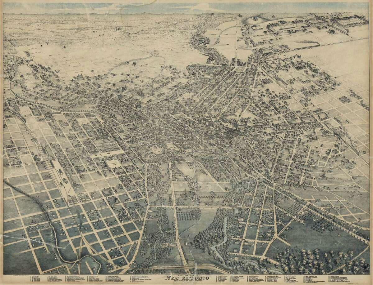 This bird's-eye view of San Antonio in this 1886 map.The city has changed a lot since then, click through to get a unique view of modern-day San Antonio through the lens of mapmaking.