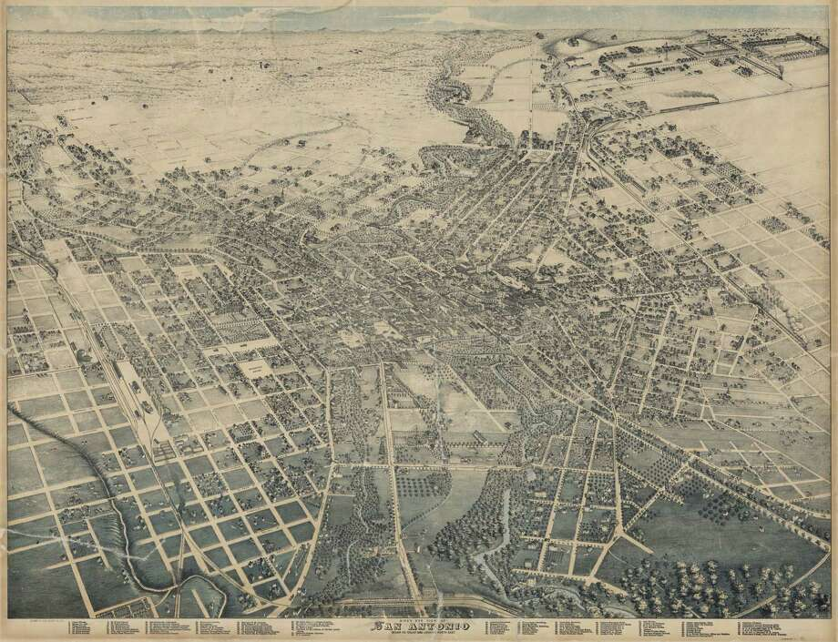 This bird's-eye view of San Antonio in this 1886 map.The city has changed a lot since then, click through to get a unique view of modern-day San Antonio through the lens of mapmaking. Photo: Courtesy Photo / Courtesy Photo