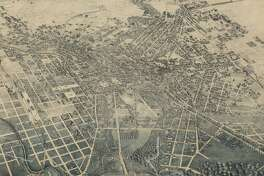 This bird's-eye view image of San Antonio in 1886 is the top-selling historic map of the city sold by the Texas General Land Office.
