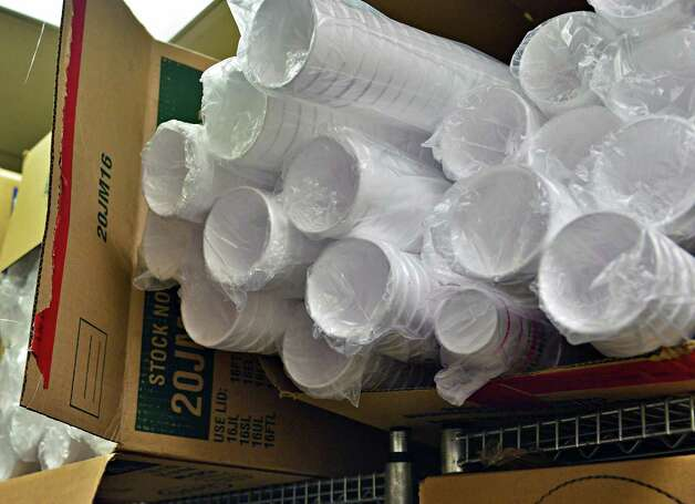 Boxes of polystyrene foam coffee cups last year at the Western Avenue Dunkin' Donuts in Albany.  (John Carl D'Annibale / Times Union) ORG XMIT: MER2013121215355913 Photo: John Carl D'Annibale / 00025028A