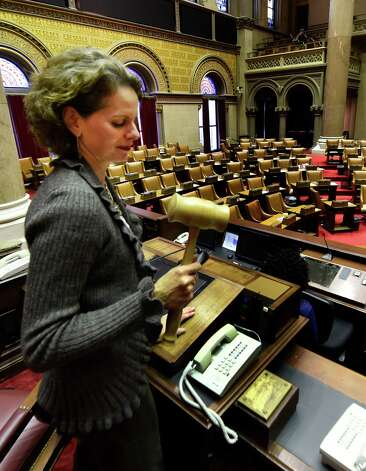 Assemblywoman Patricia Fahy gavels in the session Monday, Dec. 1, 2014, in Albany, N.Y. The gavel in is a formality when the Assembly is not in session.  (Skip Dickstein/Times Union) Photo: SKIP DICKSTEIN / 00029689A