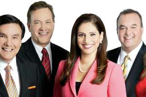 WOAI anchors Randy Beamer, Evy Ramos (center) and Delaine Mathieu (far right), along with meteorologist Albert Flores and sportscaster Don Harris, are celebrating the latest ratings book. from November 2014.