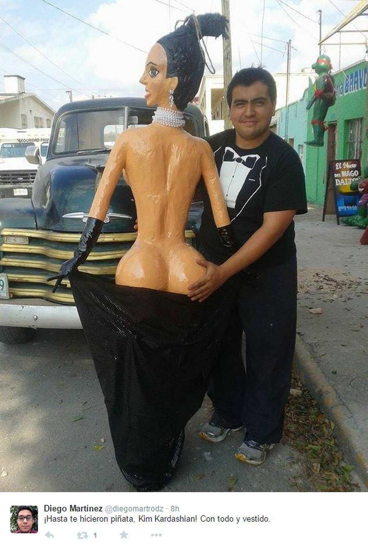"""She might not have broken the Internet, but you can break Kim Kardashian for candy if you hop over to Mexico. Piñateria Ramirez in Reynosa, Tamaulipas - right across the U.S.-Mexico border from Hidalgo - has made a piñata of Kardashian's infamous """"Break The Internet"""" pose from Paper magazine's November cover."""