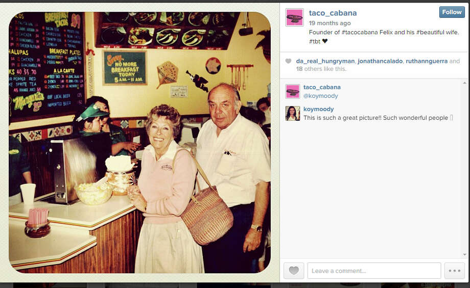 Felix Stehling opened the original Taco Cabana at the southeast corner of San Pedro and Hildebrand Avenues. His wife, Billie Joe Stehling, gives him all the credit for the funky décor. Photo: Taco Cabana / Instagram