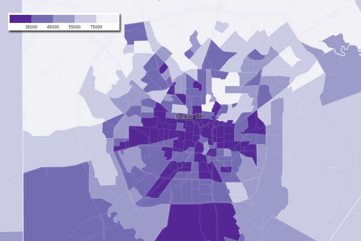 San Antonio income by census tract in the 2000 Census.
