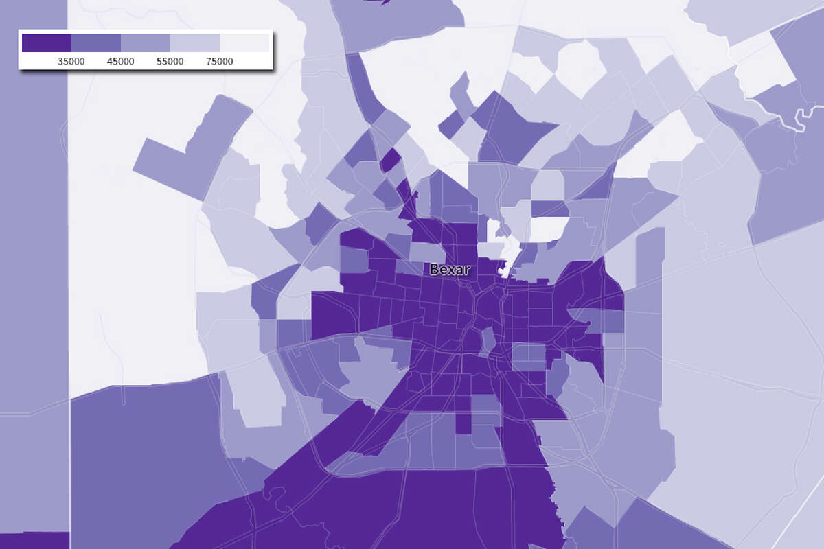 San Antonio income by census tract in the 1990 Census. The dark purple represents lower incomes of $35,000 or less while the light purple illustrates areas of higher income -- $75,000 and up.
