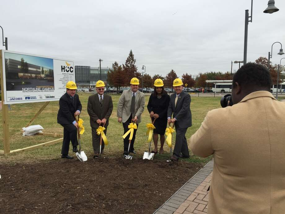 Houston Community College officials, from left, Trustees Robert Glaser, Dave Wilson and Zeph Capo, Northeast College President Margaret Ford Fisher, and Chancellor Cesar Maldonado, pose for a picture at the groundbreaking of the first project from the college system's $425 million bond program that voters approved in 2012.