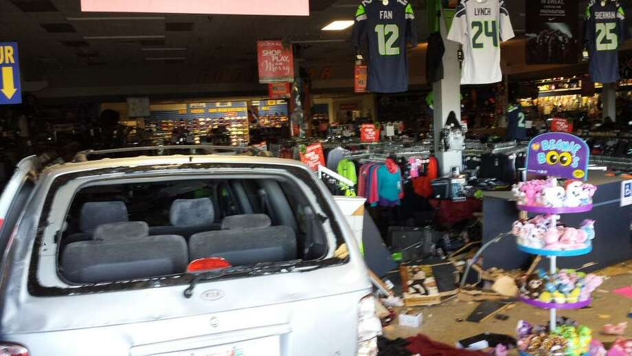 Deputies were met with this scene Tuesday morning after a man crashed into a Burien Big 5 store and barricaded himself inside, initiating a four-hour standoff. Photo: KING COUNTY SHERIFF'S OFFICE
