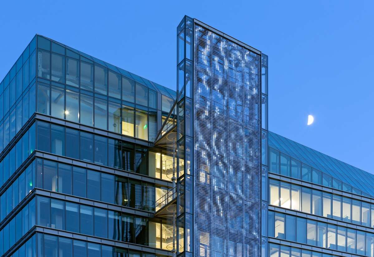 """""""Firefly"""" by Ned Kahn rises the full height of the SFPUC. Photo by Bruce Damon."""