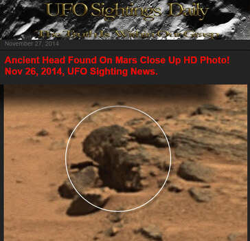 Obama on Mars?UFO Sightings Daily says it has spotted a statue of President Barack Obama on Mars in a composite image taken from NASA rover cameras. We think it's a rock. What's your take? Photo: UFO Sightings Daily
