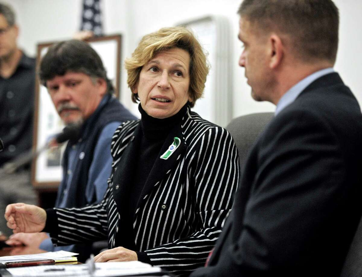 Randi Weingarten, head of the American Federation of Teachers, center, speaks at a press conference at the Newtown Municipal Center about the progress and recovery of the educators in the Newtown school system, as the two year anniversary of the Sandy Hook shooting approaches. On right is Stephen McKeever, 1st vice president of A.F.T. Connecticut, on left is Tom Kuroski, head of the Newtown Educators Foundation and a teacher in Newtown High School. On Tuesday, December 2, 2014.