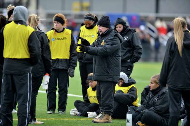 College of Saint Rose assistant coach Jim Lennox talks to his players during halftime in the second round of the NCAA Division II Women's Soccer Championship on Sunday, Nov. 16, 2014, in Albany, N.Y.  The College of Saint Rose last week suspended head coach Laurie Darling Gutheil for the remainder of the season.  (Paul Buckowski / Times Union) Photo: Paul Buckowski / 00029513A