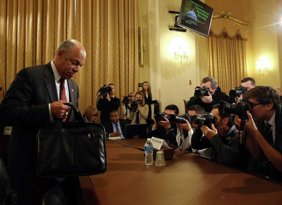 Homeland Security Secretary Jeh Johnson arrives at a House Homeland Security Committee hearing on Capitol Hill. He said withholding funds would hurt border security initiatives. Photo: Mark Wilson, Staff / 2014 Getty Images