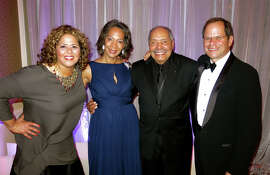 MoAD Gala honored performance artist Anna Deavere Smith (left), philanthropist Linda Dunham, artist Richard Mayhew and SFJazz founder-Artistic Director Randall Kline at the Four Seasons Hotel.