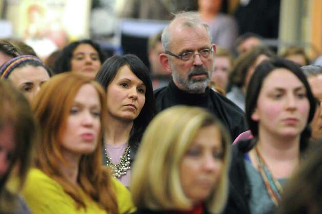 Parents and concerned residents listen to public comment to the Shenendehowa School Board on their proposed bathroom policy for transgender students on Tuesday Dec. 2, 2014 in Clifton Park, N.Y.(Michael P. Farrell/Times Union) Photo: Michael P. Farrell / 00029679A
