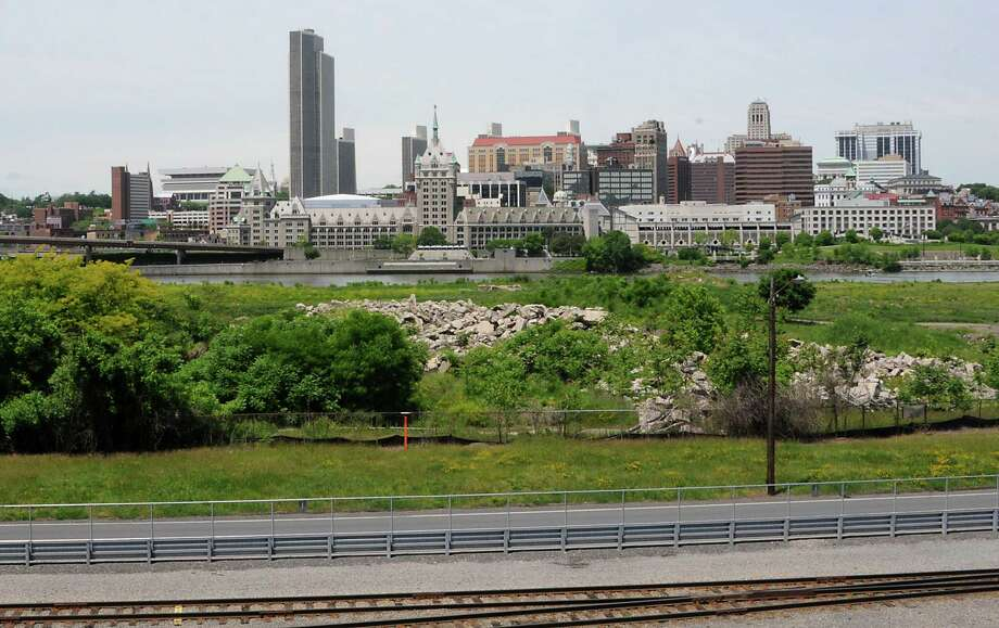 View of the Albany skyline from Bridge looking over De Laet's Landing Wednesday, June 4, 2014 in Rensselaer, N.Y. De Laet's Landing is back in play as a front runner for a possible casino site. (Lori Van Buren / Times Union) ORG XMIT: MER2014060414284841 Photo: Lori Van Buren / 00027190A
