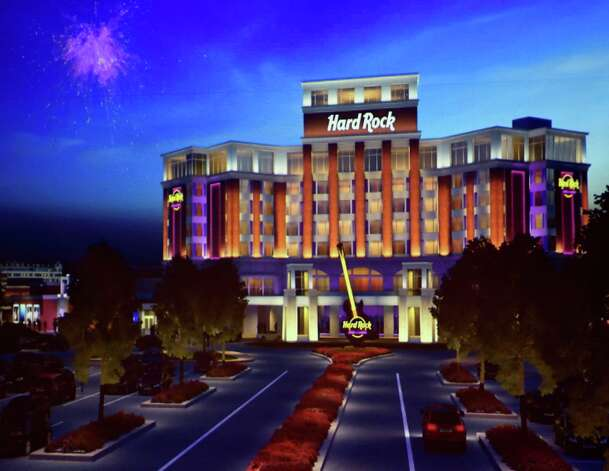 Photo of artist's rendering of the Hard Rock Rensselaer shown Monday afternoon Sept. 8, 2014 at hearings put on by the casino board in Albany, N.Y.     (Skip Dickstein/Times Union) Photo: SKIP DICKSTEIN / 00028226A