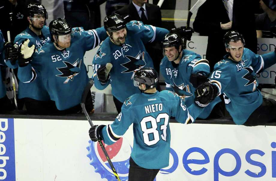 Before wing Matt Nieto (83) and his Sharks teammates face the Kings outdoors at Levi's Stadium on Feb. 21, they are the focus of an online video series. Photo: Marcio Jose Sanchez / Associated Press / AP