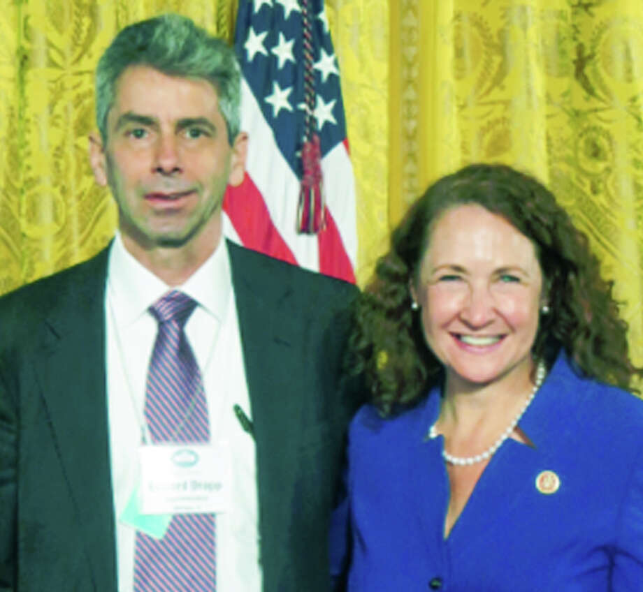 Region 6 Superintendent Edward Drapp takes a break from a schools technology summit in Washington D.C. to pose with Congresswoman Elizabeth Esty (D-5th). November 2014 Photo: Contributed Photo / The News-Times Contributed