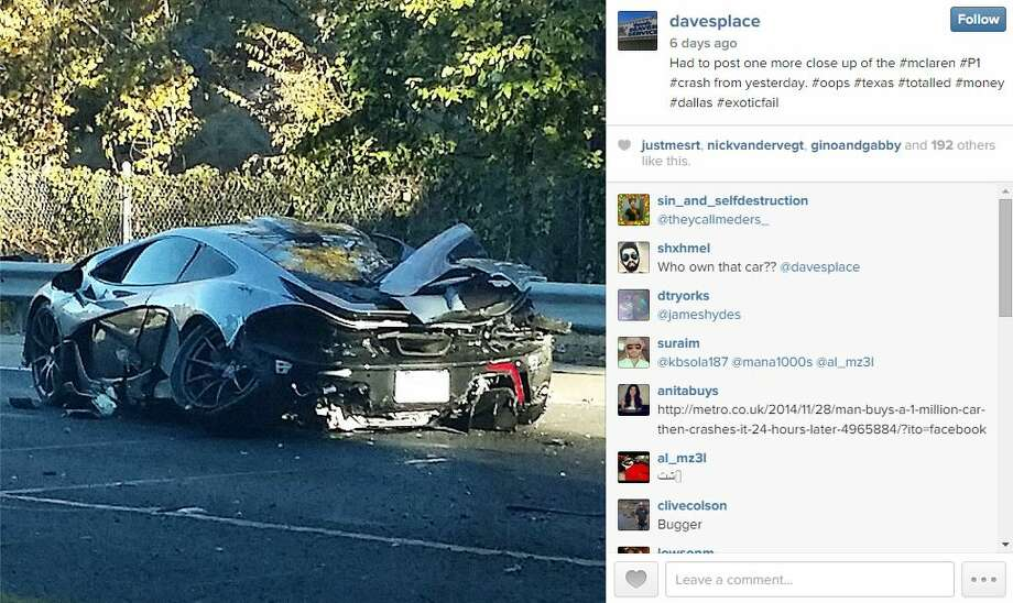 A 27-year-old driver crashed his $1.2 million McLaren P1, a 903-horsepower British hybrid supercar, near Dallas last week — less than 24 hours after he picked it up.  Photos published by Instagram user davesplace show the mangled vehicle, which has a twin-turbocharged V-8 and electric motor drivetrain, on the side of the road on the morning of Nov. 25. Photo: Fechter, Joshua I, Davesplace/Instagram