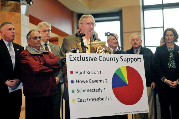 Rensselaer Mayor Dan Dwyer, surrounded by supporters of the Rensselaer casino site, addresses those gathered at a press event to show support for the site on Wednesday, Dec. 3,  2014, in Rensselaer, N.Y.    (Paul Buckowski / Times Union) Photo: Paul Buckowski / 00029722A