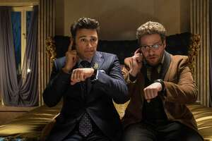 "James Franco, left, and Seth Rogen star in ""The Interview,"" which has opened at a few theaters."