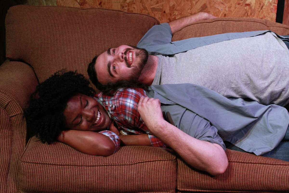 """Shunte Lofton and Nate Ruleaux in this scene from The University of Houston School of Theatre and Dance presentation of """"The End of Side A."""" (For the Chronicle/Gary Fountain, December 1, 2014)"""