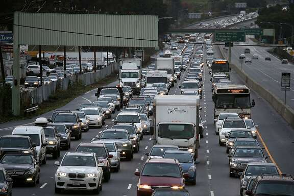 Cars sit in miles-long traffic jam on southbound highway 101 in this Chronicle file photo from December 3, 2014 in Mill Valley, California.