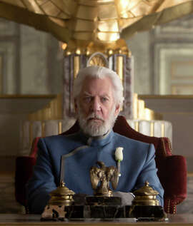 "Donald Sutherland in ""The Hunger Games: Mockingjay — Part 1."" He hasn't shaved."