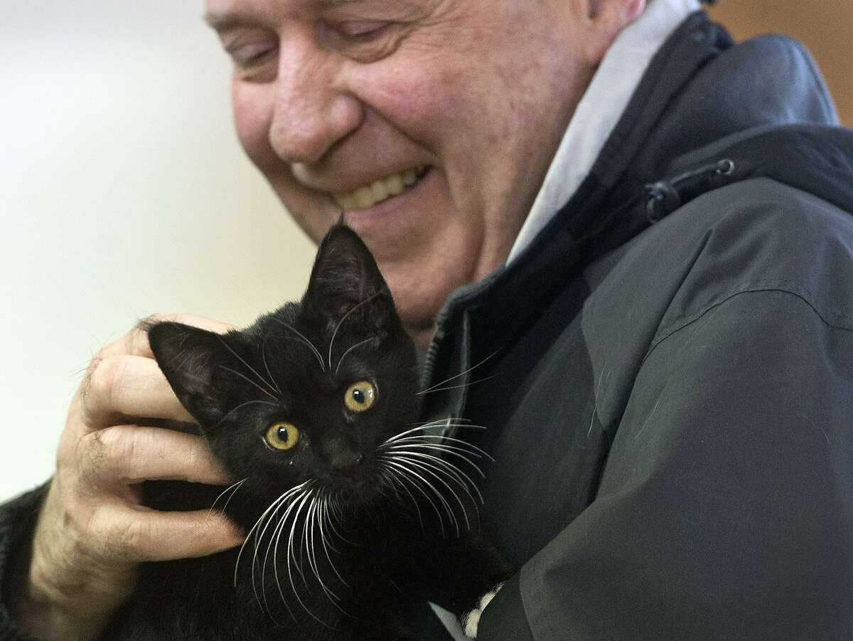 HOLY NEW SIDEKICK, BETTMAN: Christopher Bettman pets a 10-month-old kitten at the Spokane Humane Society's Love-A-Thon in northeast Spokane, Wash. He like the kitty so much, he adopted her.