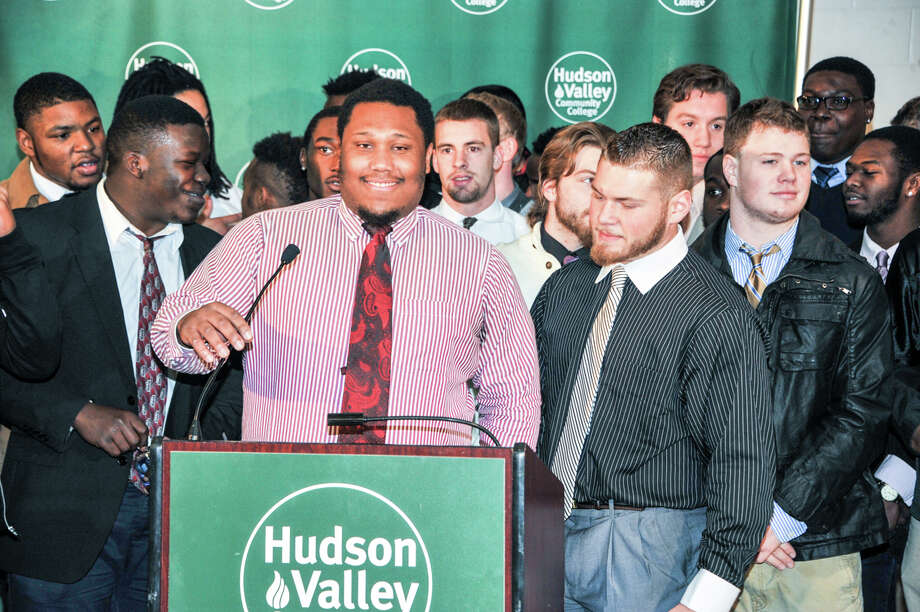 Were you Seen at the Send-Off Party at Hudson Valley Community College in Troy on Wednesday, Dec. 3, 2014, as the school rallies behind its football team in the Salt City Bowl in Hutchinson, Kansas, on Saturday, Dec. 6. Photo: Konrad Odhiambo HVCC, Konrad Odhiambo