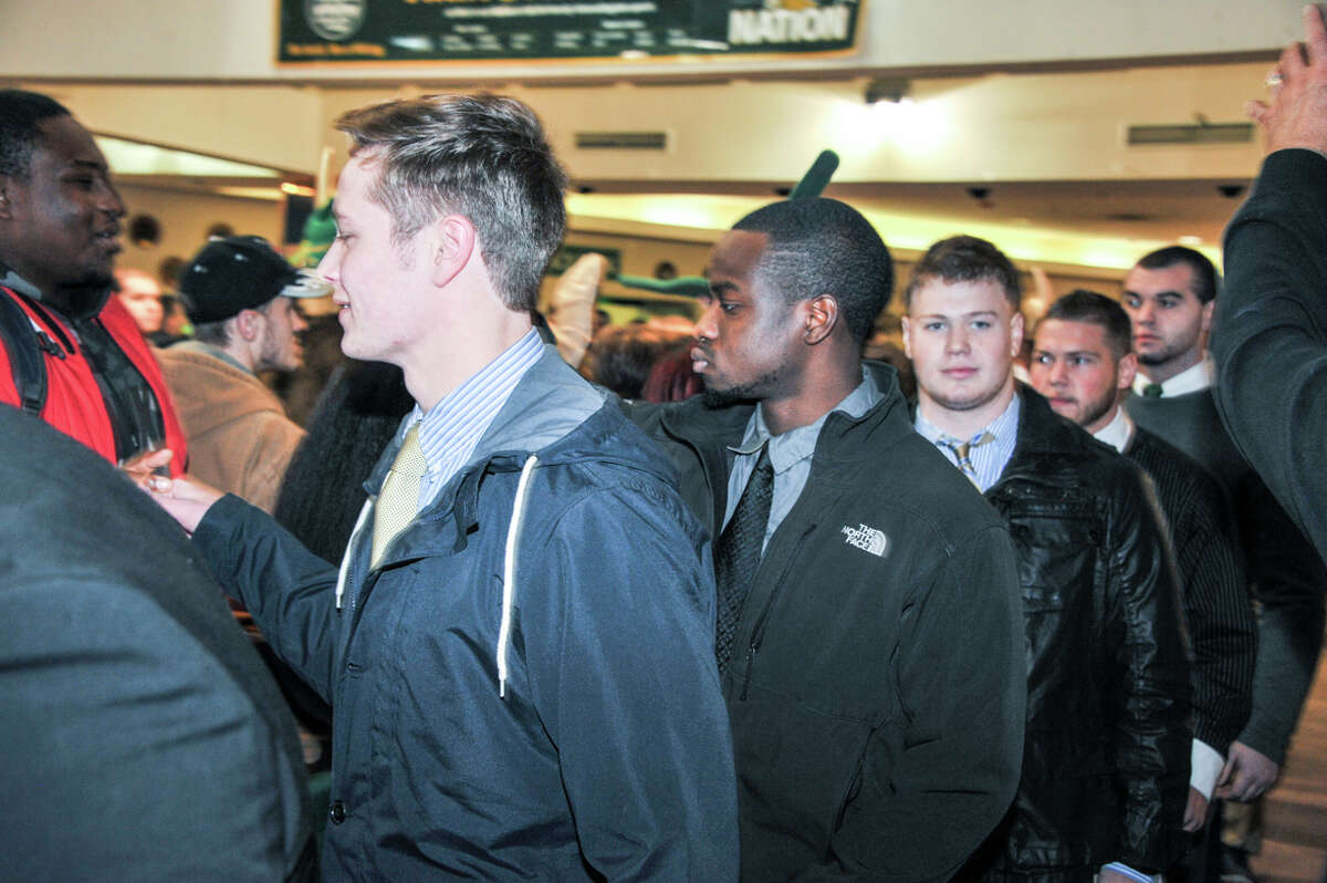 Were you Seen at the Send-Off Party at Hudson Valley Community College in Troy on Wednesday, Dec. 3, 2014, as the school rallies behind its football team in the Salt City Bowl in Hutchinson, Kansas, on Saturday, Dec. 6.