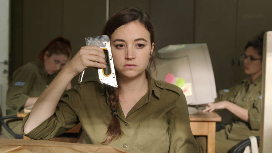"""Daffi (Nelly Tagar) can't stand her life and wants to be transferred from a desert outpost to Tel Aviv in the Israeli comedy """"Zero Motivation,"""" about three women serving their two-year military service. Photo: Zeitgeist Films / ONLINE_YES"""