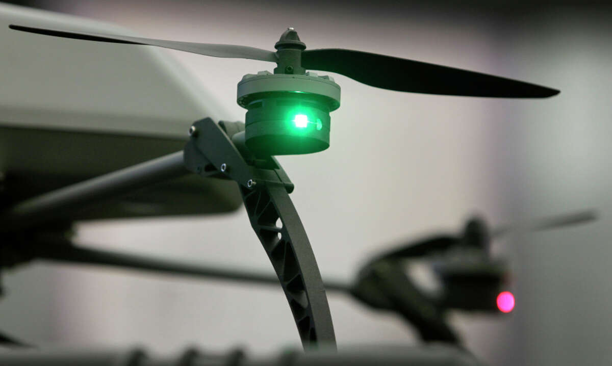 Propellers on one of the Alameda County Sheriff's Office drones are revved in Dublin. Sheriff Ahern defended them.