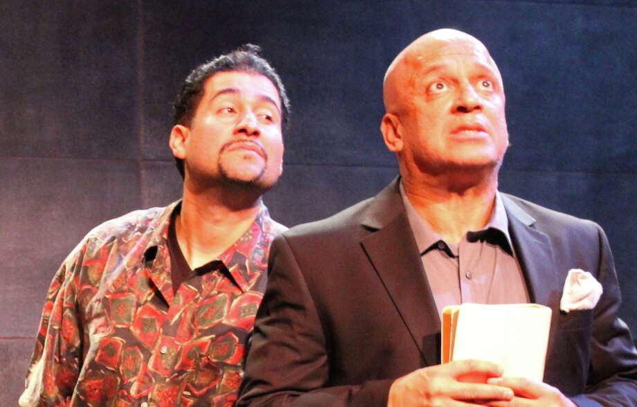 "Cocaine mogul Bayuncoso (Juan Amador, left) tempts Rev (Donald E. Lacy Jr.) in ""Superheroes"" by Sean San José. Photo: Chase Ramsey / ONLINE_YES"