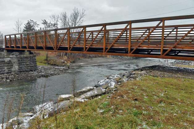 The newly reopened, reconstructed Erie Canalway Bridge over the Otsquago Creek Wednesday Dec. 3, 2014, in Fort Plain, NY.  (John Carl D'Annibale / Times Union) Photo: John Carl D'Annibale / 00029707A