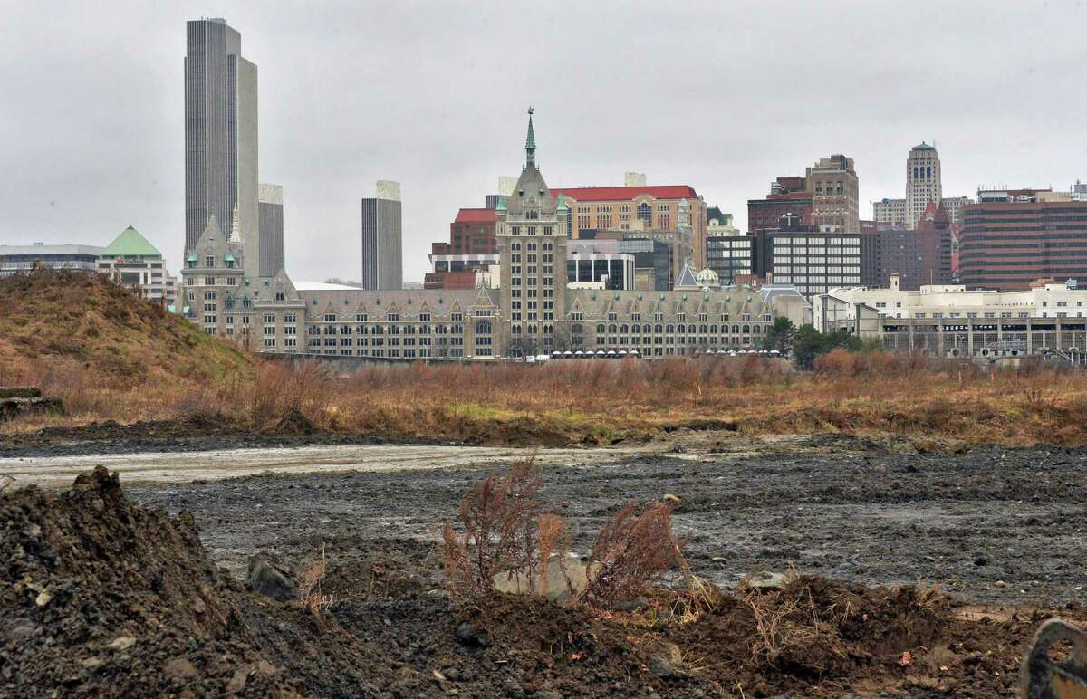 The city of Albany skyline as seen from the site of the proposed Rensselaer casino Wednesday, Dec. 3, 2014, in Rensselaer, NY. (John Carl D'Annibale / Times Union)