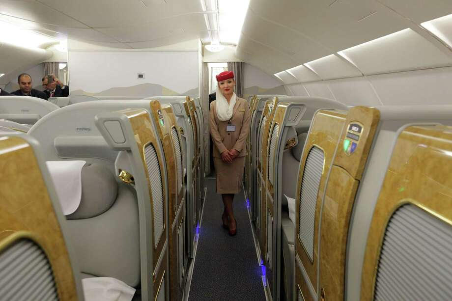Emirates opened the doors of one of its Airbus A380 aircraft Wednesday for a media tour at Bush Intercontinental Airport. The carrier is flying the largest passenger plane between IAH and Dubai. Photo: Billy Smith II, Staff / © 2014 Houston Chronicle