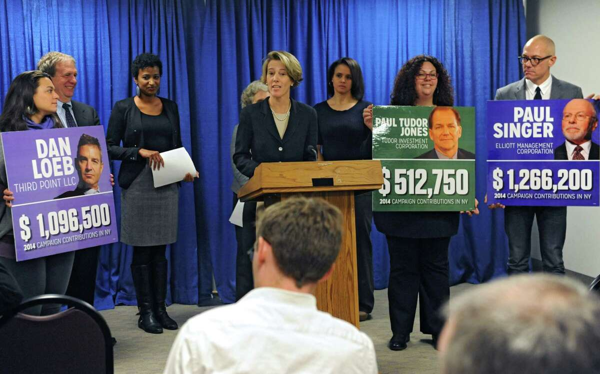 Zephyr Teachout, former gubernatorial candidate, speaks about strengthening the state's public education system rather than further its demise through privately run charter schools Wednesday, Nov. 3, 2014, during a press conference at the Legislative Office Building in Albany, N.Y. (Lori Van Buren / Times Union)