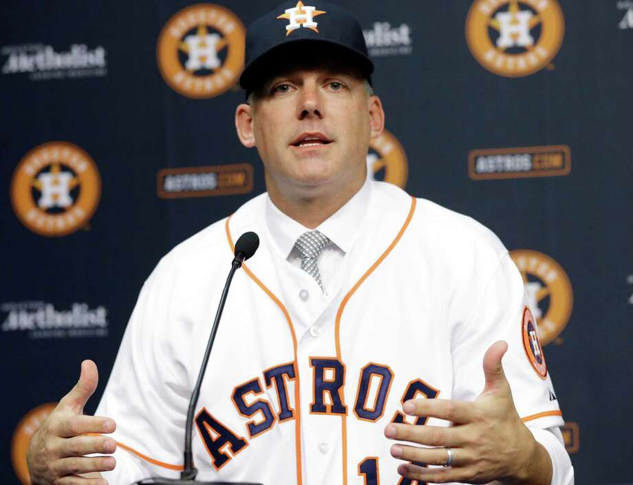 A.J. Hinch meets the media after being named the new manager for the Houston Astros, Monday, Sept. 29, 2014, in Houston. Hinch managed the Arizona Diamondbacks from 2009-2010 and was most recently the vice president of professional scouting for the San Diego Padres. (AP Photo/Pat Sullivan) Photo: Pat Sullivan, STF / AP