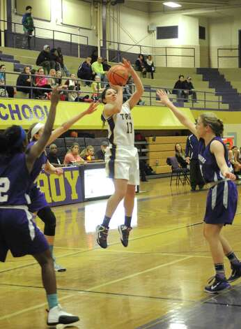 Troy's Sabrina Wolfe takes a jump shot during their girl's high school basketball game against CCHS on Wednesday Dec. 3, 2014 in Troy, N.Y.  (Michael P. Farrell/Times Union) Photo: Michael P. Farrell / 00029723A