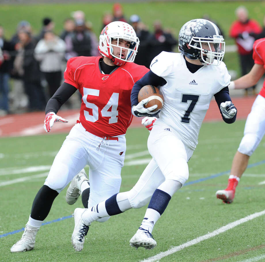 FCIACWhen: 10 a.m. Thursday The Skinny: John Marinelli's first season along the Greenwich sidelines comes to a close against a Staples team that's hoping to overcome a rash of injuries and get back to the postseason. Star running back Ethan Burger — who ran for 1,260 yards and 11 touchdowns as a sophomore — has been limited to 74 carries this year because of hamstring and knee injuries. Photo: Bob Luckey / Greenwich Time