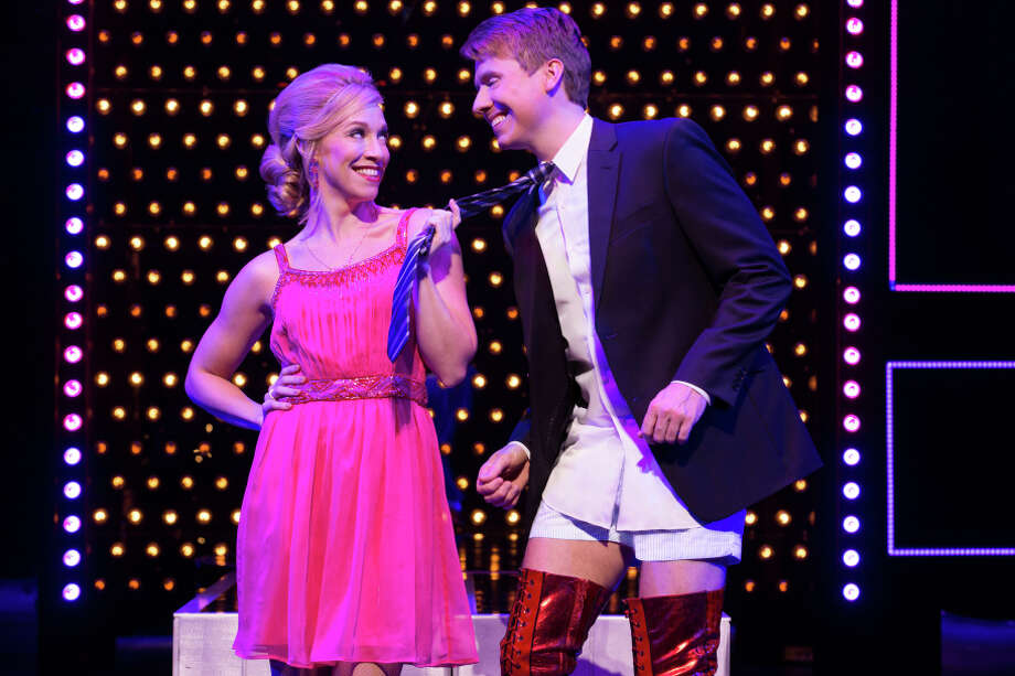 "Lauren (Lindsay Nicole Chambers, left) encourages Charlie (Steven Booth) in ""Kinky Boots"" at the Orpheum Theatre. Photo: Matthew Murphy / Matthew Murphy / ONLINE_YES"