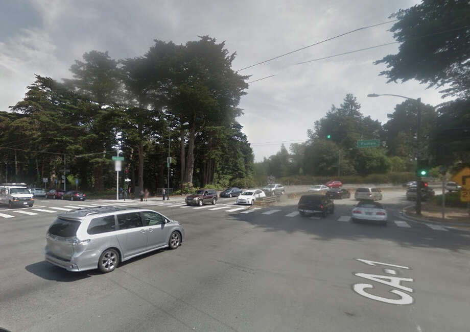 A car hit a pole at Park Presidio Boulevard and Fulton Street about 6:30 p.m. Wednesday killing the driver. Photo: Google Maps