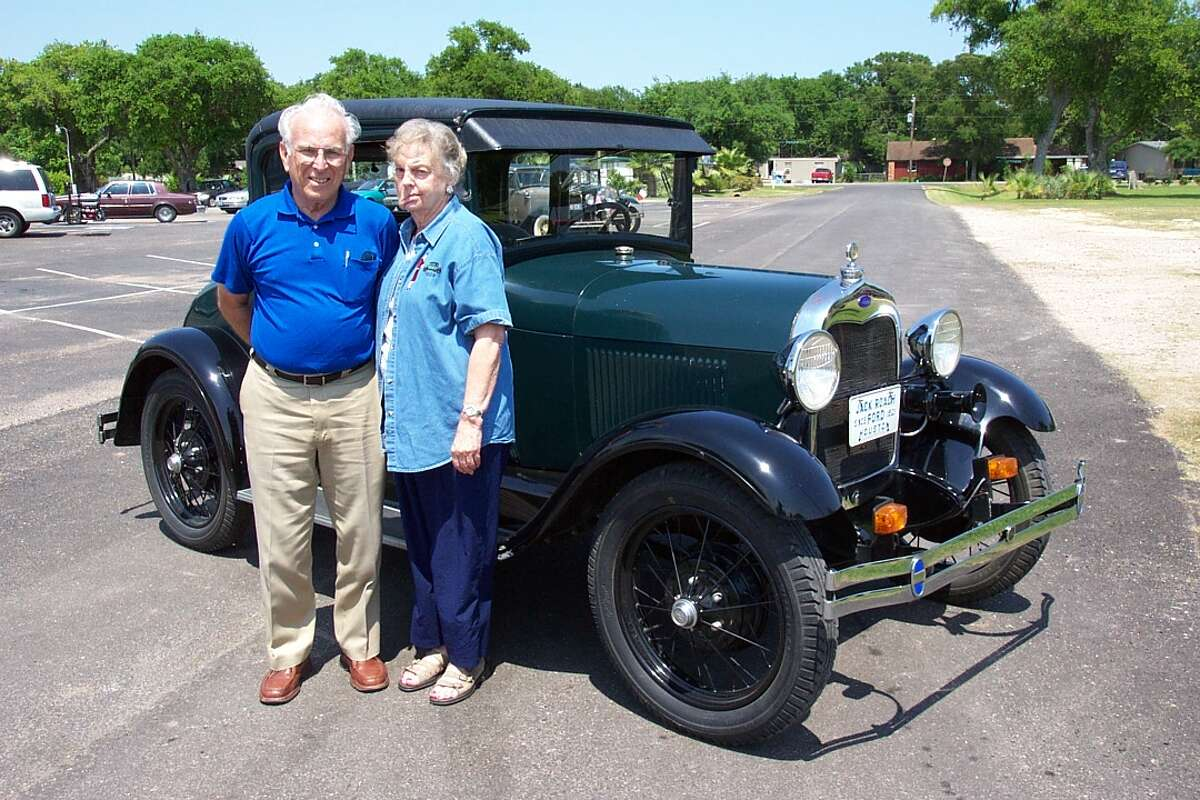 Allen and Jean Cunningham pose in 2007 next to their 1928 Model A coupe. The couple were killed and the car totaled in an accident Nov. 29 in Victoria. Photo courtesy Greater Houston Model A Restorers Club