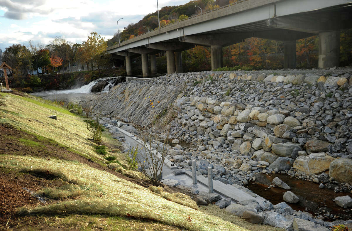The new fish ladder and park under construction at the Tingue Dam on the Naugatuck River in Seymour, Conn. on Sunday, October 26, 2014.