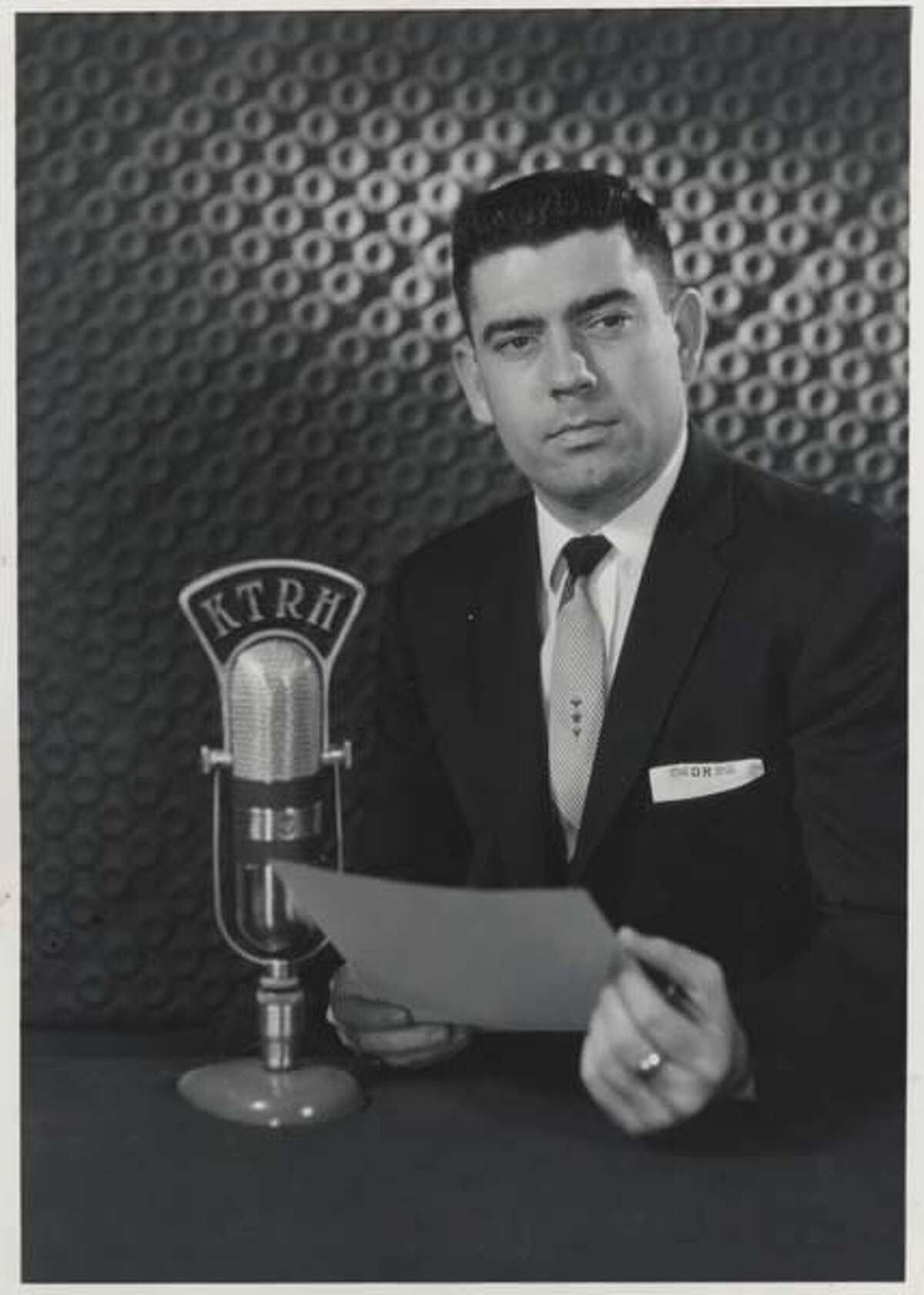 Dan Rather at local Houston radio station KTRH in 1959.