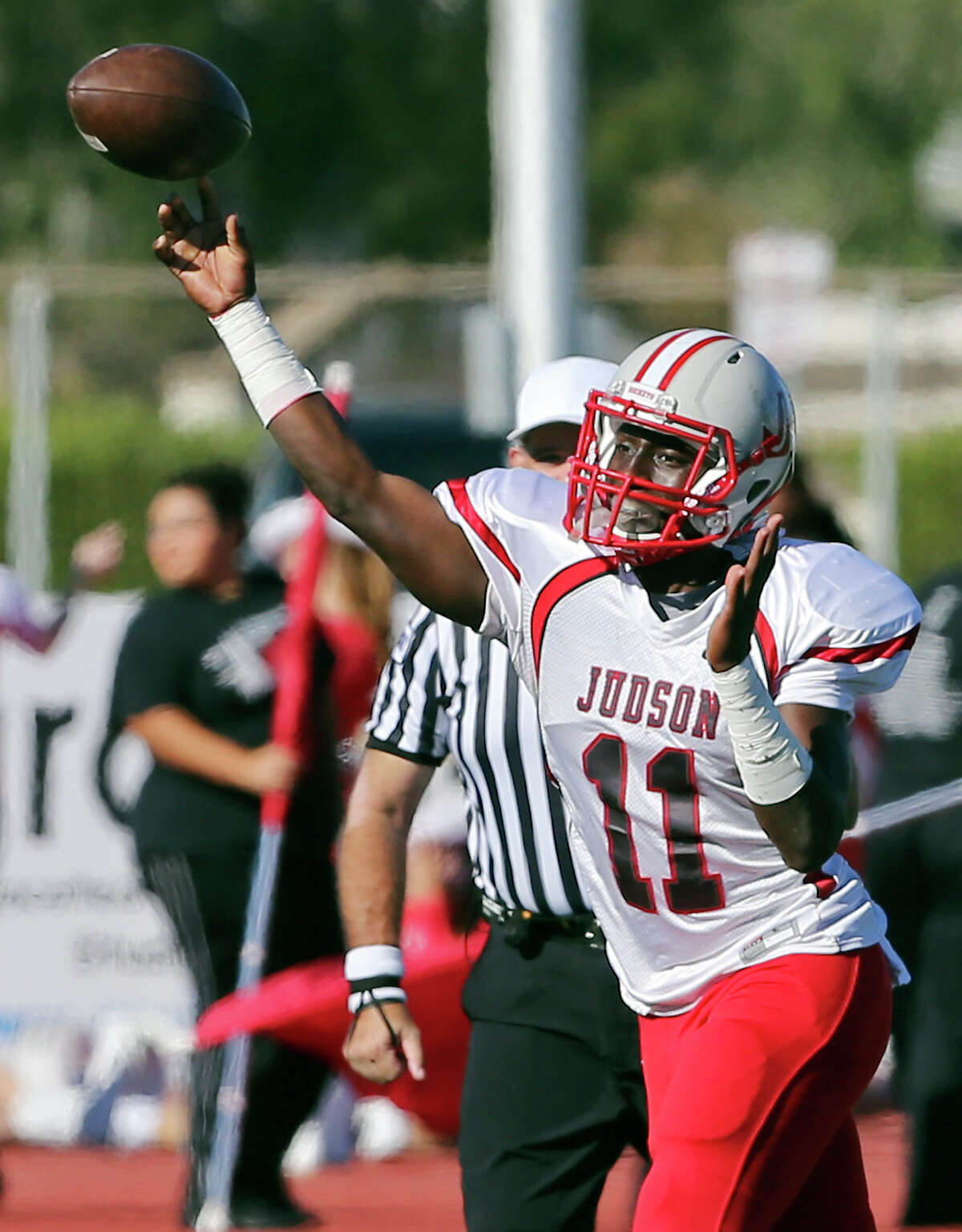 Judson's Julon Williams passes against Laredo United during first half action of their Class 6A Division I third-round playoff game Friday Nov. 28, 2014 at Texas A&M Kingsville's Javelina Stadium in Kingsville, Tx.
